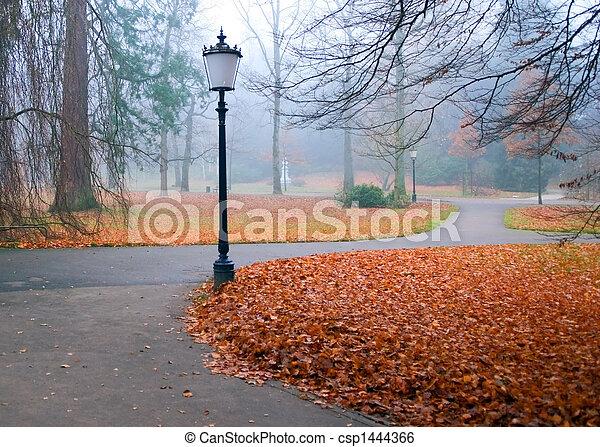 otoño, linternas, parque - csp1444366