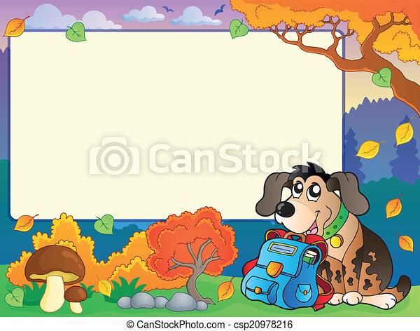 Otoño, marco, perro, schoolbag. Eps10, illustration., marco ...