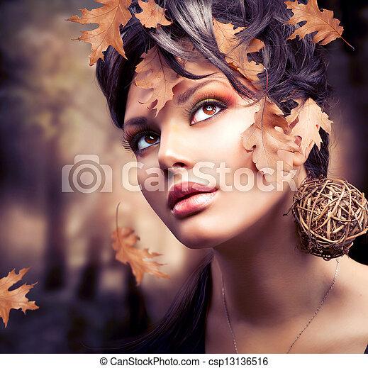 otoño, mujer, portrait., moda, otoño - csp13136516