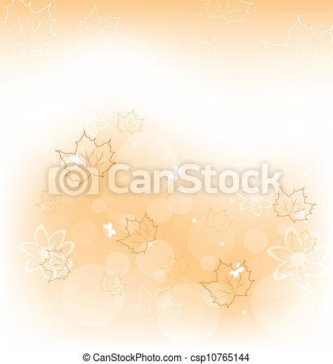 Trasfondo de otoño con hojas de arce naranja - csp10765144