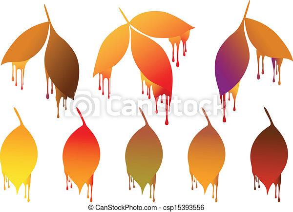 Otoño, pintura, hojas, gotas. Otoño, elementos, colorido, hojas ...