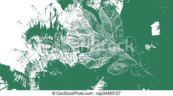 Hoja de roble. Defoliación de otoño - csp34483127