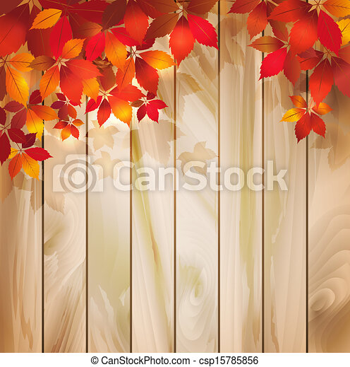 Trasfondo de otoño con hojas en una textura de madera - csp15785856