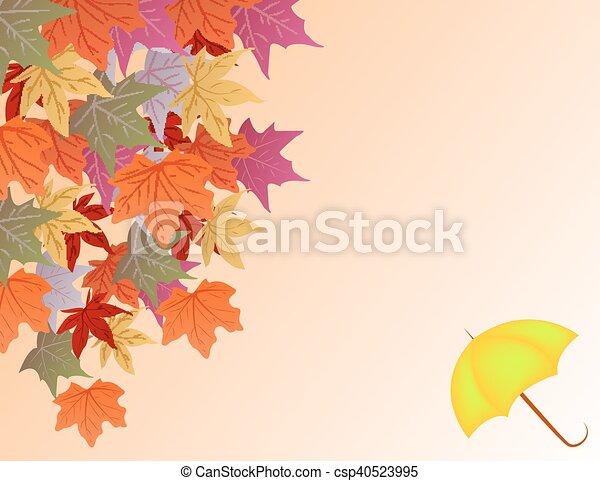 Trasfondo vectorial con hojas de otoño y paraguas - csp40523995