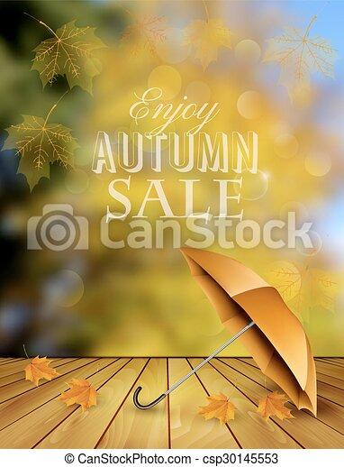 Venta de otoño con un paraguas. Vector. - csp30145553