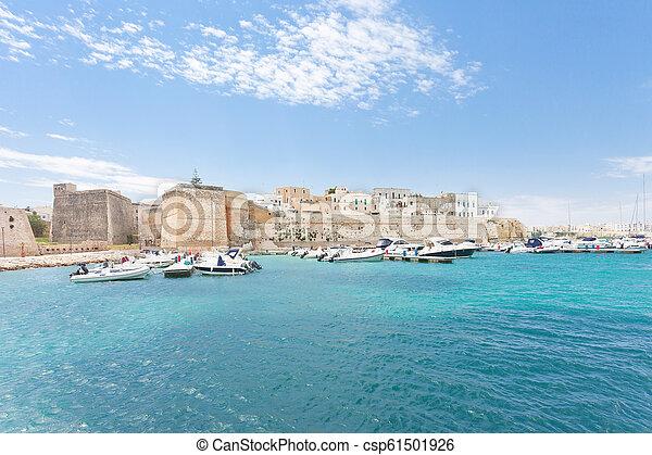 otranto, porto , -, otranto, apulia, motorboote, italien - csp61501926