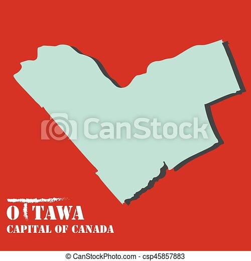 Ottawa Capital Of Canada Map Silhouette Vector Illustration Set