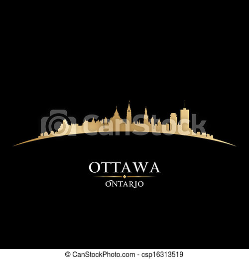 Ottawa Ontario Canada city skyline silhouette black background  - csp16313519