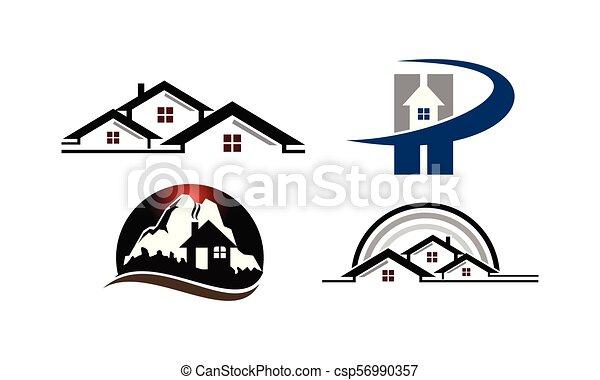 otthon, állhatatos, sablon, hegy - csp56990357