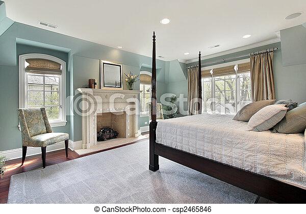 otthon, fiatalúr, fényűzés, hálószoba - csp2465846