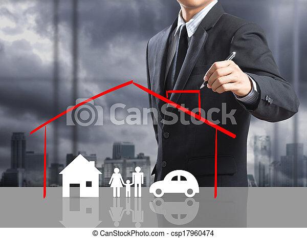otthon, fogalom, biztosítás - csp17960474