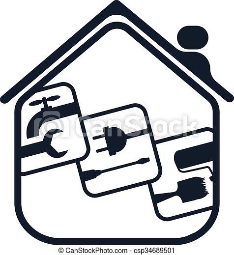 otthon, jelkép, helyreállítás - csp34689501