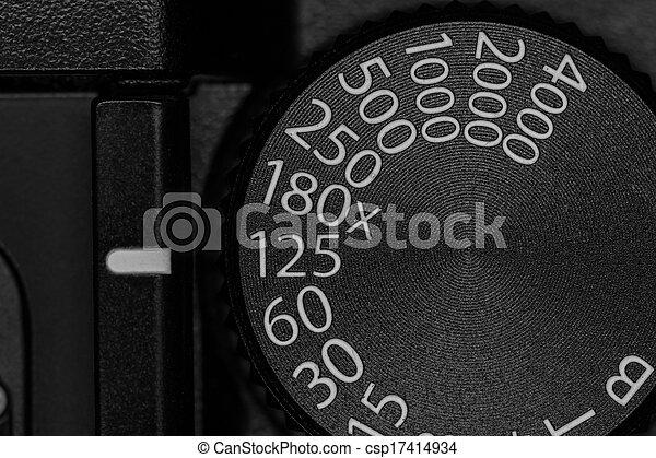 otturatore, quadrante, macchina fotografica, velocità - csp17414934