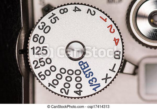otturatore, quadrante, macchina fotografica, velocità - csp17414313