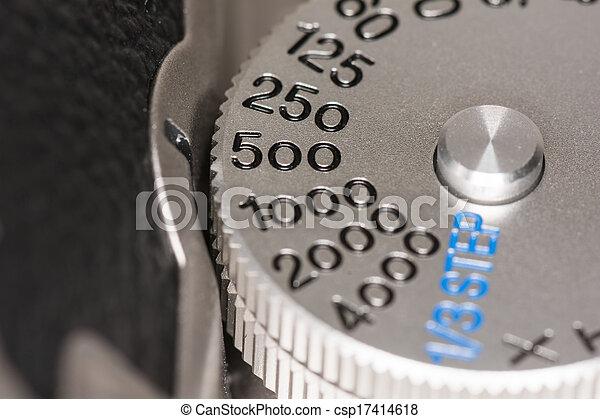 otturatore, quadrante, macchina fotografica, velocità - csp17414618