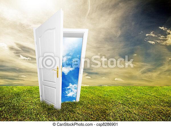 otwarty, życie, drzwi, nowy - csp8286901