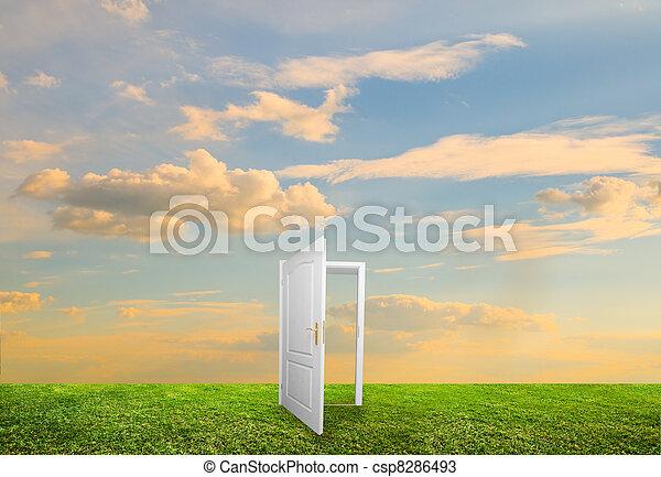 otwarty, życie, drzwi, nowy - csp8286493