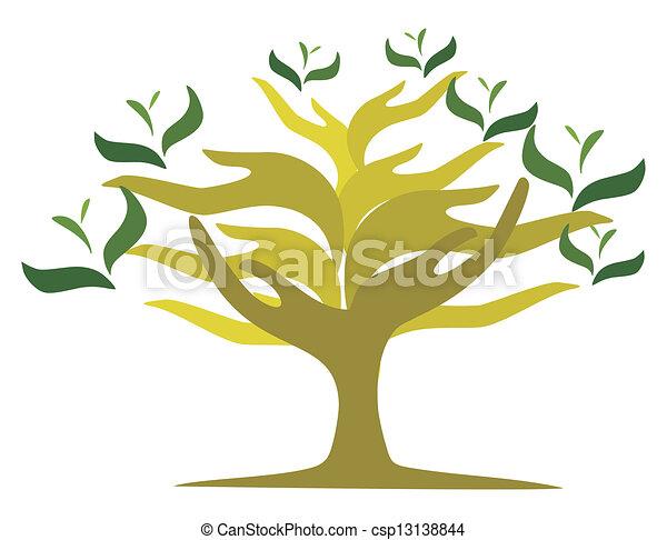 otwarty, drzewo, siła robocza - csp13138844