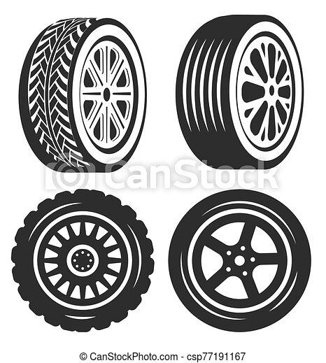 ou, automóvel, pneu bicicleta, isolado, ícones, parte carro - csp77191167