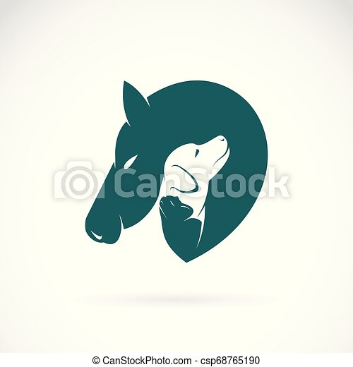 Ou Cheval Vecteur Animaux Familiers Pet Editable Chien Chat Arrière Plan Posé Couches Facile Logo Animal Icon Blanc Illustration