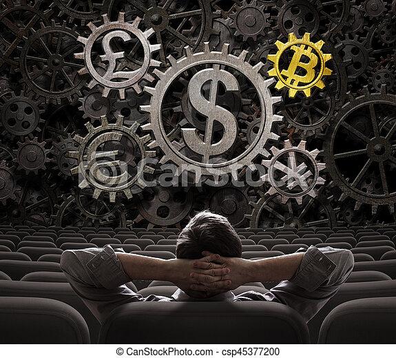 ou, commerçant, regarder, investisseur, devises, bitcoin, illustration, engrenages, inclure, 3d - csp45377200