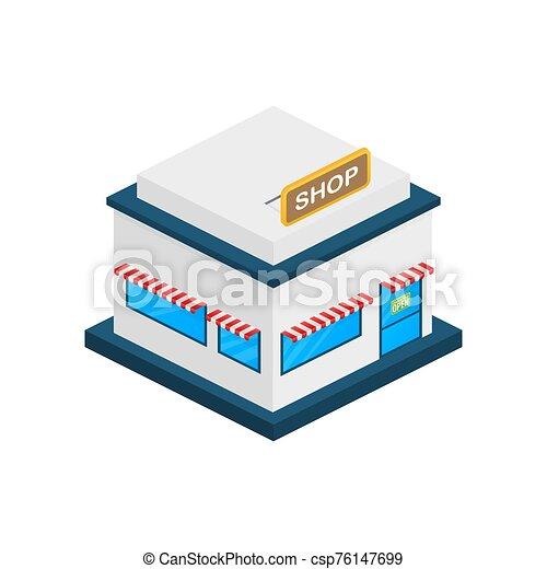 ou, devant, extérieur, marché, magasin, illustration., vecteur, magasin, facade., stockage - csp76147699
