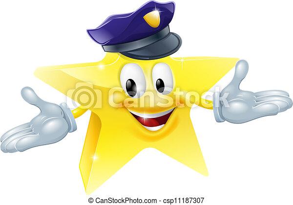ou, homme sécurité, police, étoile - csp11187307