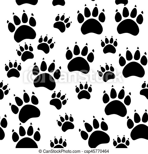 Ou Illustration Patte Modèle Seamless Chien Vecteur Animal Empreinte Chat Texture