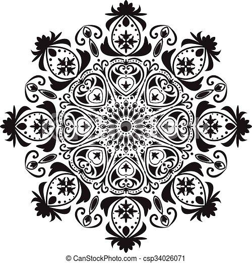 Ou Modele Mandala Noir Circulaire Blanc Ou Modele Ceci Mandala Etait Noir Circulaire Illustration Isole Cactus Canstock