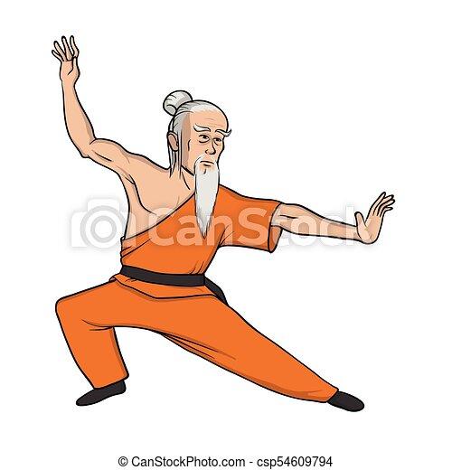 Ou Pratica Fu Shaolin Ilustracao Wushu Isolado Monge