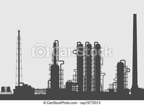ou, raffinerie chimique, plante, silhouette., huile - csp19779313