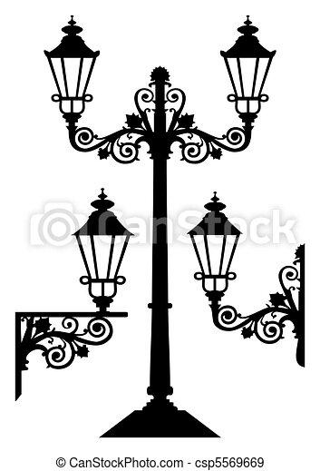 ou, silhouettes, ensemble, lanternes, s - csp5569669