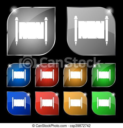 oud, blad, kleurrijke, tien, teken., glare., knopen, vector, papier, set, perkament - csp39872742