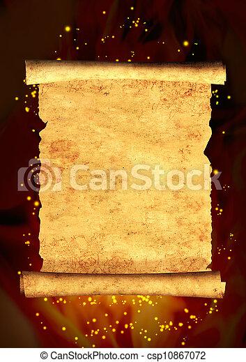 oud, boekrol, perkament - csp10867072