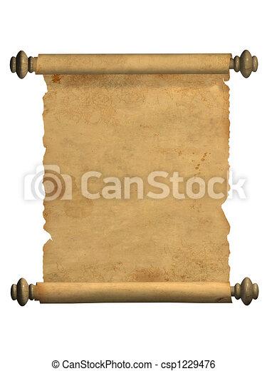 oud, boekrol, perkament - csp1229476