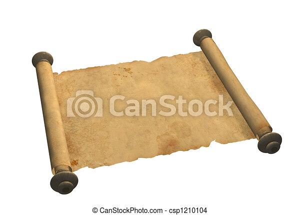 oud, boekrol, perkament - csp1210104