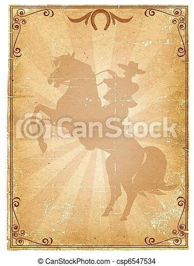 oud, cowboy, .retro, poster, rodeo, papier, achtergrond - csp6547534