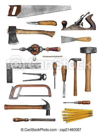 Uitgelezene Oud, gereedschap, timmerman, hand. Set, oud, timmerman, vrijstaand GG-88