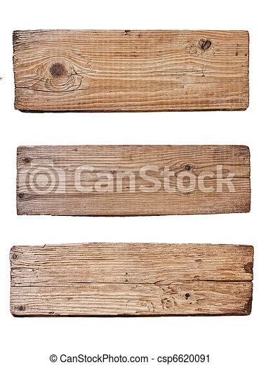 oud, houten, vrijstaand, plank, achtergrond, witte  - csp6620091