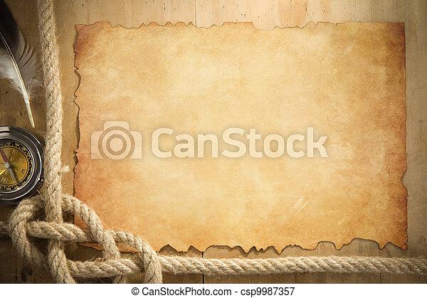 oud, kabels, papier, kompas, scheeps , perkament - csp9987357