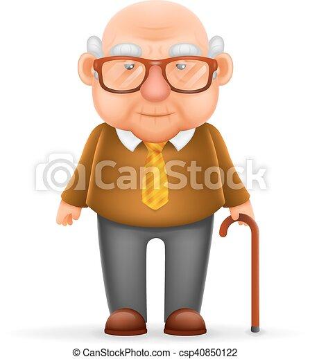 oud, karakter, vrijstaand, grootvader, realistisch, vector, ontwerp, illustrator, 3d, spotprent, man - csp40850122