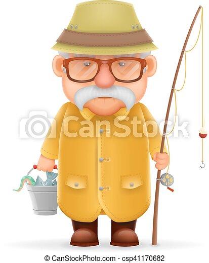 oud, karakter, vrijstaand, illustratie, grootvader, realistisch, vector, visser, ontwerp, spotprent, 3d - csp41170682