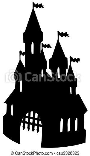 oud, kasteel, silhouette - csp3328323