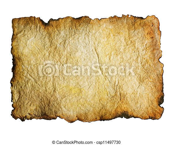 oud, op, randen, papier, gebrande, witte  - csp11497730