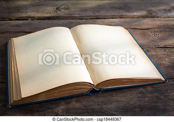 oud, pagina's, hout, achtergrond, leeg, opengeslagen boek - csp18449367