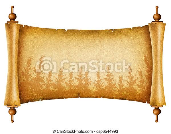 oud, silhouette.scroll, textuur, papier, bos, witte  - csp6544993