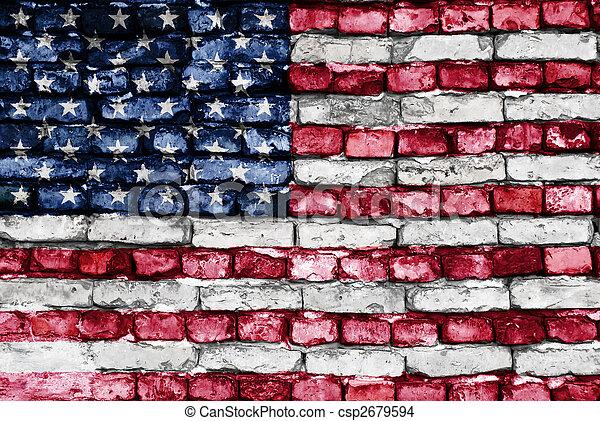 oud, usa, geverfde muur, vlag, baksteen - csp2679594