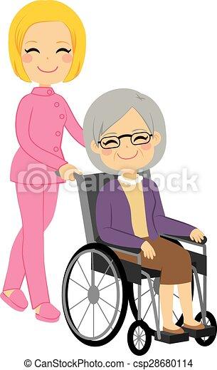 oude vrouw, patiënt, wheelchair - csp28680114