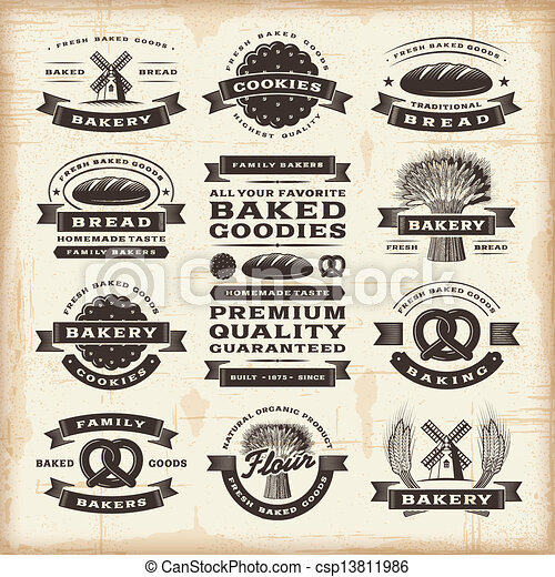 ouderwetse , bakkerij, etiketten, set - csp13811986