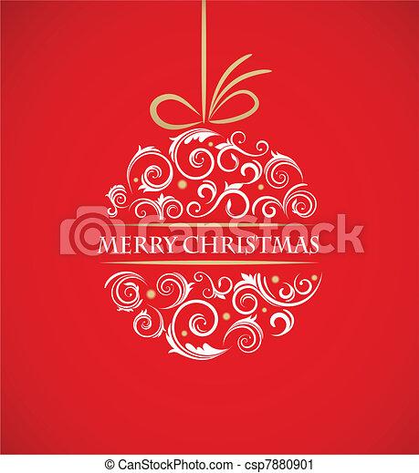 ouderwetse , bal, retro, versieringen, kerstmis - csp7880901